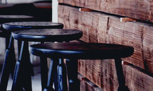 rustic bar and stools