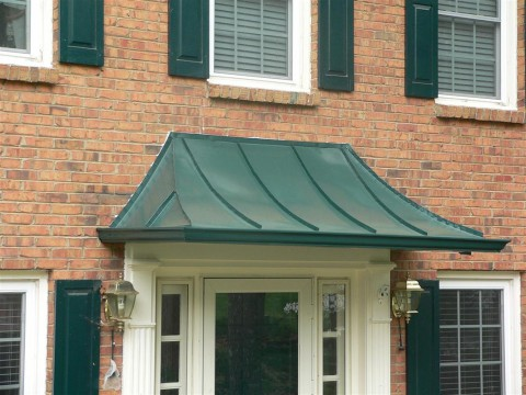 Freestanding Copper Canopy with Gutters